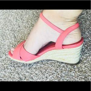 Cole haan woman's orange wedges sandals size 7B